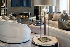 A beautiful and balanced composition at our Kensington project Drawing Room; the soft tones of the amethyst silk threads and gunmetal silk cushions compliment the gentle tones of the furniture perfectly.   #homeinterior  #interiordesigner #interiors #interiorinspo #luxuryhome#homedecor #interior #interiordesign #homedesign  #london #luxe #homeinspo #interiordesign    #artdeco  #lighting #Artwork  #carpet  #chandeliers  #cream  #elegant  #fireplace #goldleaf  #highceilings   #modern