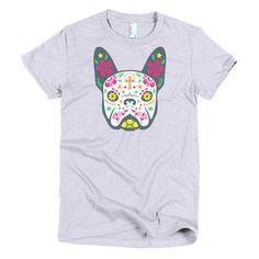 Halloween Sugar Skull Dog Ladies t-shirt