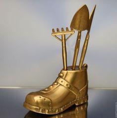 Винтажные предметы интерьера. Ярмарка Мастеров - ручная работа. Купить Садовый набор ботинок лопата грабли латунь Герм 2. Handmade.