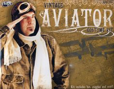 """Check out our 3-piece aviator costume set including a cocky faux (suede) leather helmet, with stitching detail, """"brass"""" studs and metal buckle, UV400 rated goggles with faux leather stitched detail and elastic band, plus a silky white scarf, to complete your aviator costume. $39.95"""