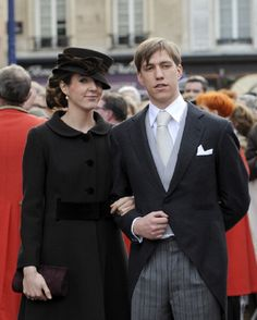 Prince Louis and Princess Tessy of Luxembourg leave the Saint Epvre Basilica after the wedding of Archduke of Austria on 29 Dec 2012