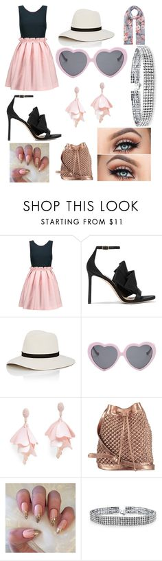 """""""Girly and Cute Outfit"""" by oliviaballard04 ❤ liked on Polyvore featuring Mother of Pearl, Jimmy Choo, Janessa Leone, Vans, Oscar de la Renta Pink Label, nooki design, Bling Jewelry and Accessorize"""