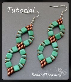 Infinitum - beadwoven earrings tutorial / Beading tutorial / Earring pattern / Bead pattern / CzechMates, Superduo, Rulla / TUTORIAL ONLY