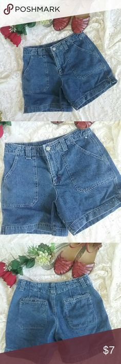 Ladies Essential Style Brand Denim Shorts Mid Rise This is a nice pair of ladies essential style brand denim shorts. They are mid-rise. They are size 8. You're sold without stains or flaws. Essential Style Shorts Jean Shorts