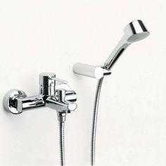 wall mounted bath shower mixer diverter - Google Search Bath Shower Mixer Taps, Kitchen Mixer Taps, Bathroom Wall, Modern Bathroom, Love Wall, Beautiful Bathrooms, Home Interior Design, Wall Mount, Vanity Ideas