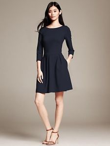 NEW-150-Banana-Republic-6-Classic-Navy-Ponte-Fit-and-Flare-Dress-S-Small