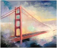 Paintings I Love, Watercolor Paintings, Golden Gate Bridge Painting, Bridge Drawing, New York Painting, Architecture Wallpaper, San Fransisco, Diy Canvas Art, City Art