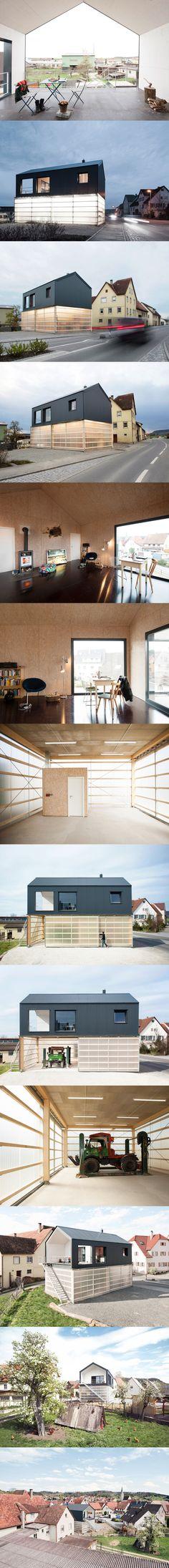 House Unimog stores a truck  within its translucent base  http://www.dezeen.com/2014/01/02/house-unimog-fabian-evers-architecture-wezel-architektur/