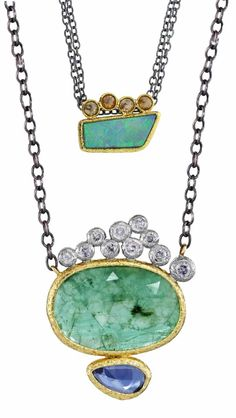Layered necklaces by Rona Fisher.