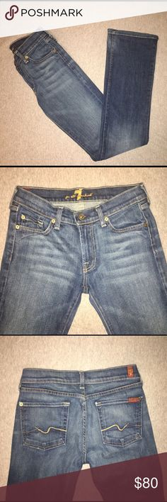 """7 For All Mankind Flare Jeans EUC 💙👖 7 for All Mankind Flare Jeans. Like New Condition; no flaws. Waist: 27"""". Inseam: 32"""". Rise: 8"""". Zip Fly w/ 7 for All Mankind labeled on back of Jeans. 7 For All Mankind Jeans Flare & Wide Leg"""