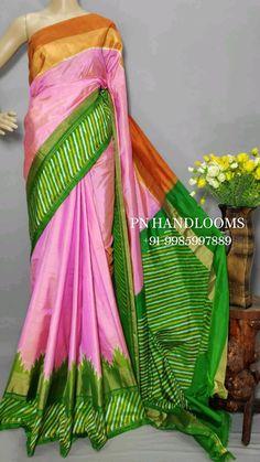 Ikkat Silk Sarees, Bollywood Saree, Pink Saree, Half Saree, Saree Wedding, Langa Voni