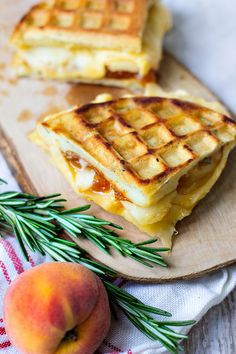 Peach and Gouda Grilled Cheese on Rosemary Waffles by Carolina Girl Cooks