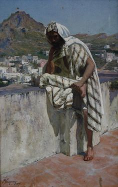 Portrait of an Arab by Paul Schreiber, a Town Beyond, oil on canvas