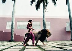 """Esther Haase, """"The Fearless Lola Walking The Lion King"""", Miami 1999"""