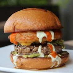 """Texas Ranch burger at Umami Burger:  """"a beefy wonder topped with crushed avocado, Hatch chile blend, beer cheddar cheese & a tempura-fried onion ring, then dipped in jalapeno ranch and Diablo sauce"""" (2184 Union St. at Fillmore [Marina] 415.440.8626)"""