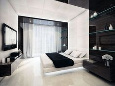 Exciting Master Bedroom Interior Decorating Ideas comes with White Bed Frames With Led Lights and White Bedding Sheet