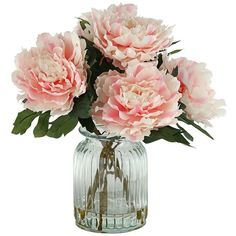 Peonies in Ridged Glass Vase (1.595 ARS) ❤ liked on Polyvore featuring home, home decor, floral decor, flowers, fillers, plants, decor, backgrounds, magazine and phrase