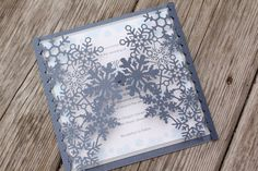 SNOWFLAKE - CUSTOMIZED SAMPLE Shimmering Navy Blue with Silver and Cream or White Laser Cut Folder Frosty Winter Wedding Invitation