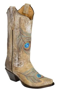 Corral Distressed Bone Feather Embroidery Cowgirl Boots - Snip Toe available at #Sheplers LUST-HAVE!! This pretty much puts two of my favourite things together; cowboy boots and peacock feathers