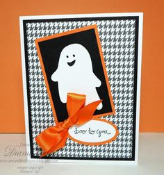 Halloween Card - Hand Stamped Halloween Card - Boo to You