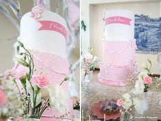 Lima Limão - festas com charme: Batizado da Madalena: anjinho charmoso! How To Make Cake, Floral Arrangements, Garland, Delicate, Invitations, Elegant, Simple, Party, Pink