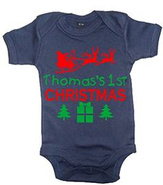 "Navy '""NAMES"" 1ST CHRISTMAS' with Red & Green Print. Personalised with the childs name."