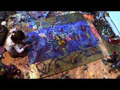 "▶ Aelita Andre in 2013 painting ""Blue Ocean of the Rainbow Butterflies and Sparkling River"" - YouTube"