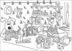 Wallace and Gromit on the moon for cheese coloring page