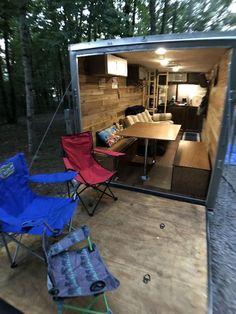 Utility Trailer Camper, Cargo Trailer Camper Conversion, Toy Hauler Camper, Cargo Trailers, Camper Trailers, Horse Trailers, Trailer Plans, Trailer Build, Custom Cars