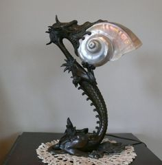 1900's Art Nouveau French Bronze Dragon Nautilus Shell Lamp $8,500