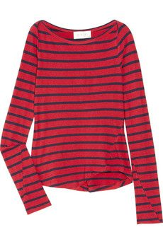Red and Navy stripes. Nautical Outfits, Navy Stripes, Summer Wardrobe, Flare Jeans, Preppy, Womens Fashion, Female Fashion, Autumn Fashion, Men Sweater