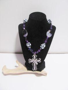 Purple Southwestern Necklace Beaded Necklace by GreenCloverCrafts