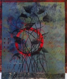 """Out of the Fire, by Anne Moore, monotype with linocut, 16""""x14"""""""