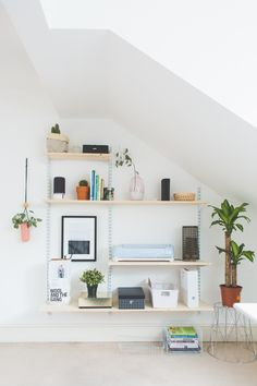 Home and Living Bank Holiday Restoration Challenge | Office Shelfie Makeover with white twin track shelving unit and pine board shelves