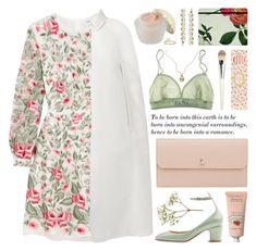 """""""embroidered dress"""" by jesuisunlapin ❤ liked on Polyvore featuring Jessica de Lotz Jewellery, Vilshenko, Elizabeth Arden, Burberry, Valentino, Crabtree & Evelyn, Kate Spade, Valextra, Forever 21 and Ladurée"""