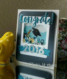 SSS Painted Congrats die; Lawn Fawn Hats Off to You; graduation card; grad…