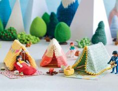 Lets Go Camping Crochet Patterns - Tents Sleeping Bags Campfire