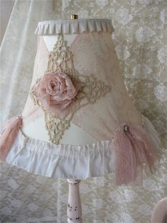 Shabby Chic Lace Lampshade, Shabby Chic French Cottage Lamp shade Romantic Lighting, French Lace Roses, Pink vintage Tattered Lace, SCT