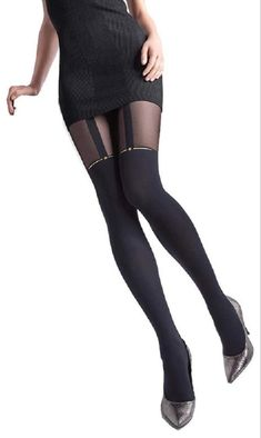 Marilyn Gold Star Mock Suspender Tights - See more tights at www.fashion-tights.net ‪#tights #pantyhose #hosiery #nylons #fashion #legs‬ #legwear #advertising #influencer #collant
