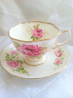 Vintage English Royal Albert Tea Cup & Saucer American Beauty Pattern Tea Party Birthday, Thank You or Housewarming Gift Inspiration