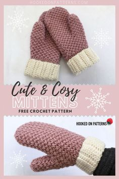 Free Crochet Mittens Pattern - Check out my new free crochet pattern, perfect for winter. Make your cute and cosy mittens today! Cute & Cosy Free Crochet Mittens Pattern The Craft Patch craftpatch Crochet and Knitt Crochet Mittens Pattern, Bonnet Crochet, Crochet Gloves, Knit Crochet, Beanie Pattern, Free Crochet Hat Patterns, Crochet Accessories Free Pattern, Crochet Hand Warmers, Winter Knitting Patterns