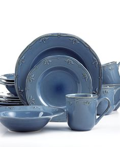 Thomson Pottery Sicily Blue 16-Pc. Set, Service for 4