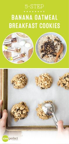 Stay on track with your New Year's resolution and enjoy a delicious morning dish with the help of these 5-Step Banana Oatmeal Breakfast Cookies. Don't worry, this recipe is anything but too good to be true! Made with ZonePerfect® Nutrition Bars, bananas, and peanut butter, you won't believe how easy this morning treat is to make. Who says sticking to your goals can't be tasty too?!