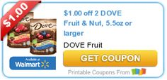 $1.00 off 2 DOVE Fruit & Nut, 5.5oz or larger #candy #coupon
