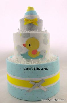 Duck diaper cake | Neutral diaper cake | Yellow diaper cake | Baby shower decoration | Baby shower gift | Baby diaper cake | New mom gift by MsCarlasBabyCakes on Etsy