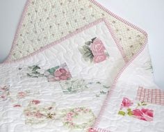 Pastel Baby or Lap Quilt, Up-cycled Vintage Sheets, Shabby Chic by MiniMade on Etsy