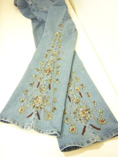 TREASURY ITEM: Boho Chic bead embroidery embellished jeans