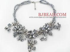 2013 verano nuevo diseño plateado de plata del cristal del color del collar de la flor