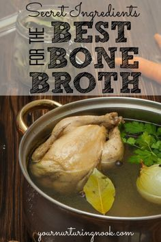 There are lots of posts out there about how to make bone broth, but I am going to share how to make even healthier chicken stock with a few secret ingredients. Stock is full of healthy minerals that are easily absorbed into the body, as well as gelatin an Healthy Soup Recipes, Whole Food Recipes, Cooking Recipes, Sauce Recipes, Free Recipes, Healthy Chicken, Chicken Recipes, Chicken Treats, Bone Broth Benefits