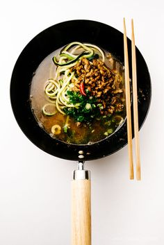 Easy Japanese-inspired dan dan zucchini noodle soup recipe. Perfect for cold weather :D